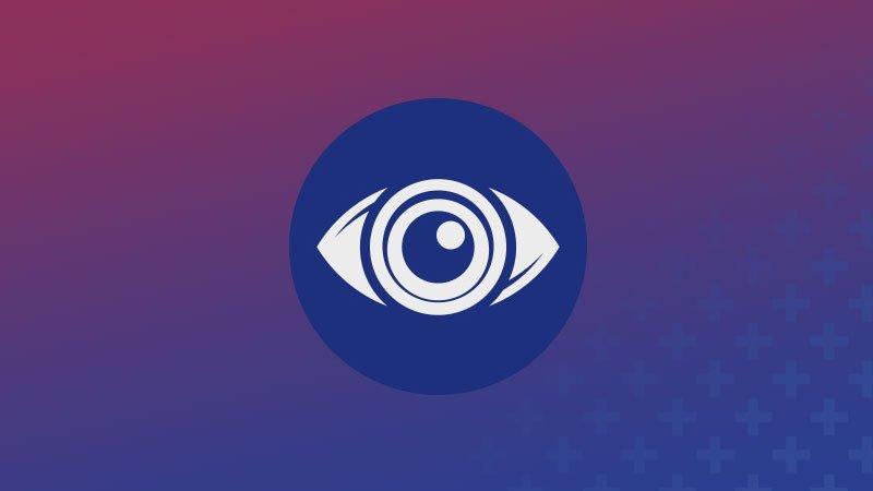 """Detalle de la imagen promocional del festival """"Con otra mirada"""" en la que se ve una ilustración icónica de un ojo blanco dentro de un círculo azul sobre un fondo degradado de un tono granate rosado en la parte superior a un tono azul desaturado en la parte inferior"""