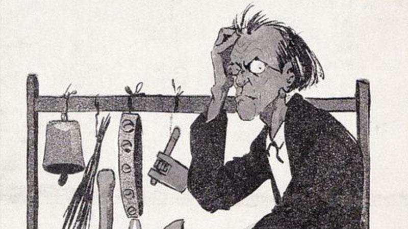 Caricatura de Gustav Mahler componiendo su Sexta sinfonía, la Trágica
