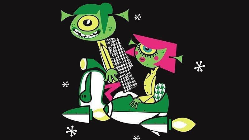 Detalle del cartel del EuroYeYé 2019 en el que se ve la ilustración de una pareja de marcianos ataviados de Mods sobre una vespa voladora con sidecar