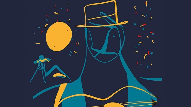 Detalle del cartel del festival Las Músicas en el que se ve una ilustración de un personaje con sombrero y guitarra en la mano