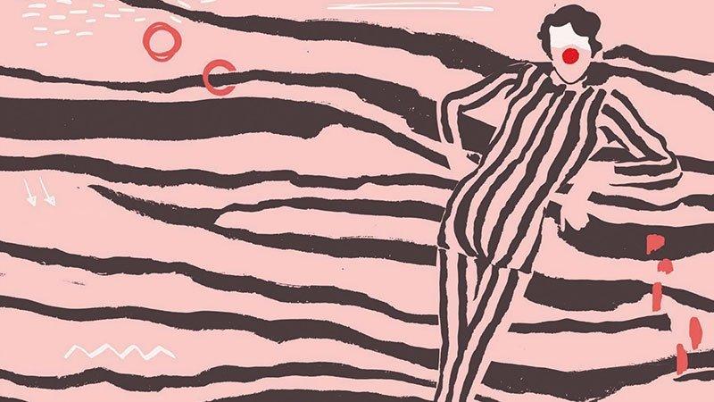 Detalle del cartel de la edición 2019 de Rincones y Recovecos en el que se ve una ilustración, sobre fondo rosa chicle, de un arlequín apoyado con gesto relajado sobre una de las franjas negras que construyen un motivo de mar como fondo de la composición