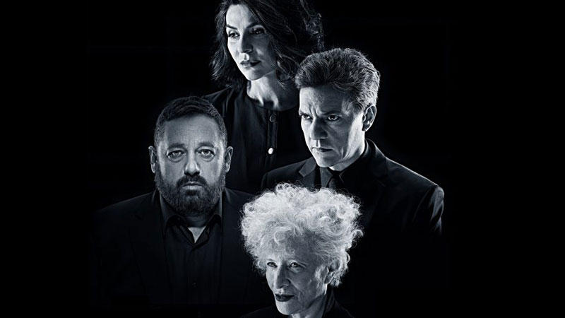 Imagen promocional de la obra teatral La Culpa donde aparecen las caras de sus 4 protagonistas