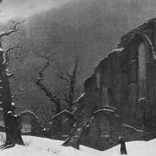 Pintura de Caspar David Friedrich de un paisaje de inivierno