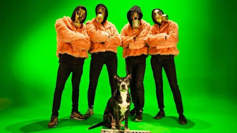 Foto de los cuatro miembros de Tremenda Jauría posando con máscaras de gas y chaquetas de peluche rosa