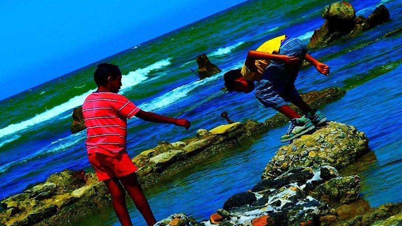 Fotograma de la película Le livre d'image en el que se muestra a dos chicos buscando algo en el agua de unas marismas en un plano inclinado 45 grados