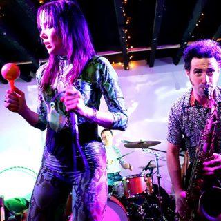 Foto de Michele Paul que muestra a los 5 componentes de Oh! Gunquit tocando en directo