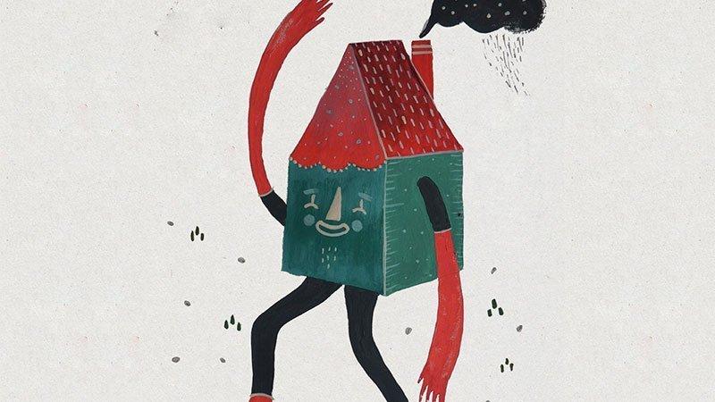 Detalle del cartel de la exposición donde se ve a una casa saludando
