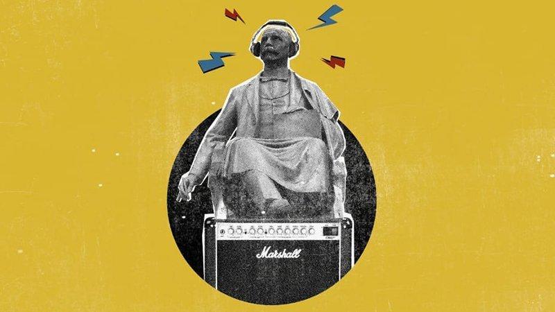 Detalle del cartel del festival, en el que se ve la estatua a Teodoro Cuesta con un ampli Marshall a sus pies, auriculares de diadema y rayos de colores saliendo de su cabeza