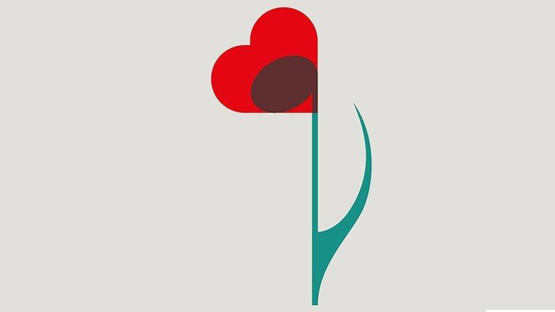 Detalle del cartel del concierto en le que puede verse una flor de tallo verde y pétalos rojos con forma de corazón, dentro del corazón se aprecia una nota musical