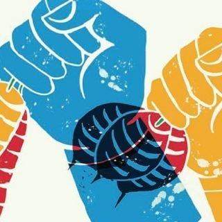 Detalle del cartel ilustrado por Bitxo en el que se ven dos manos ilustradas sostenidendo un manojo de zanahorias y otro de remolachas, respectivamente, con colores vivos (azul, naranja, rojo y verde) y textura desgastada