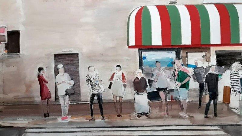 Detalle de una obra de Angel Hurtado de Saracho en la que se ve una escena cotidiana callejera con una cola de gente ante un paso de peatones con una fachada y un toldo de fondo