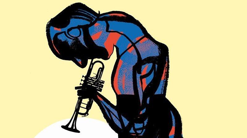 Detalle del cartel del festval en el que se ve a una figura humana, compuesta de forma abstracta por lineas negras y rellenos azules y rojos, mirando hacia abajo y tocando una trompeta