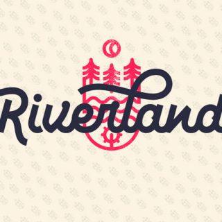 Marca gráfica del festival en la que se muestra el isologotipo de la marca Riverland sobre un fondo color crema con el isotipo de la marca repetido en forma de patrón