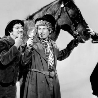 """Fotograma de la película """"A day at the races"""" en el que se ve a los hermanos Marx haciendo el payaso alrededor de un caballo"""