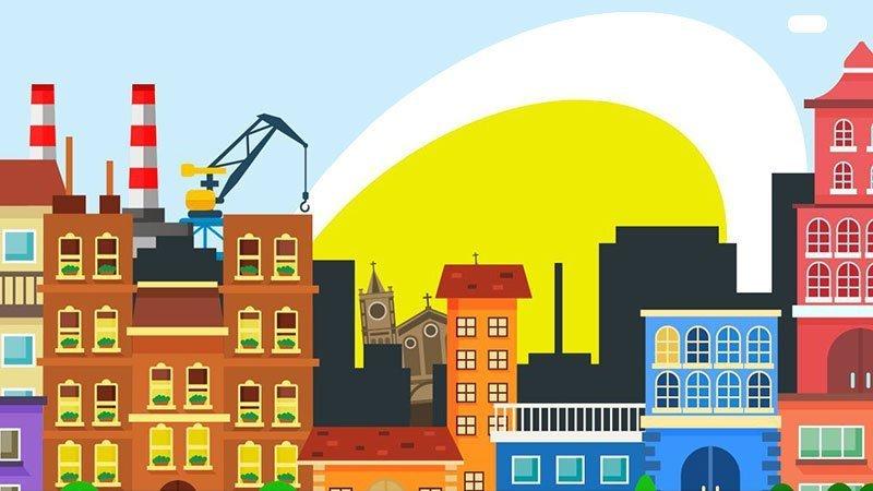 Detalle del cartel de Combina Avilés en el que se ve una ilustración de edificios míticos de la ciudad de avilés con colores muy saturados, de fondo sobresale el huevo frito del Centro Niemeyer