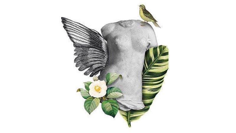 Detalle del cartel del acto poético en el que se ve un torso de mujer tallado en piedra rodeado de ramas y flores, con un pájaro en el hombro y un ala saliendo por detrás