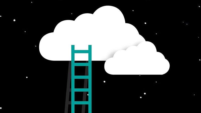 """Detalle de la imagen del proyecto """"Añadas"""" en el que se ve una ilustración de unas nubes sobre un cielo estrellado y una escalera que llegas hasta ellas"""