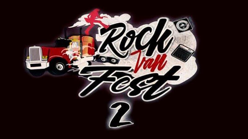 """Imagen promocional de Rock Van Fest II en la que se ve la parte delantera de un camión tipo americano junto al texto """"Rock Van Fest 2"""" y varios motivos mucisales como amplificadores, altavoces y la silueta de un guitarrista"""
