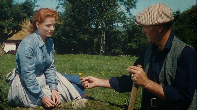 """Fotograma de la película """"The quiet man"""" en el que se ve a sus dos protagonistas sentados en un campo."""