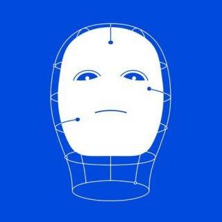 Detalle del cartel de la exposición en el que se ve una ilustración de una cabeza de lo que podría ser un cyborg o robot.