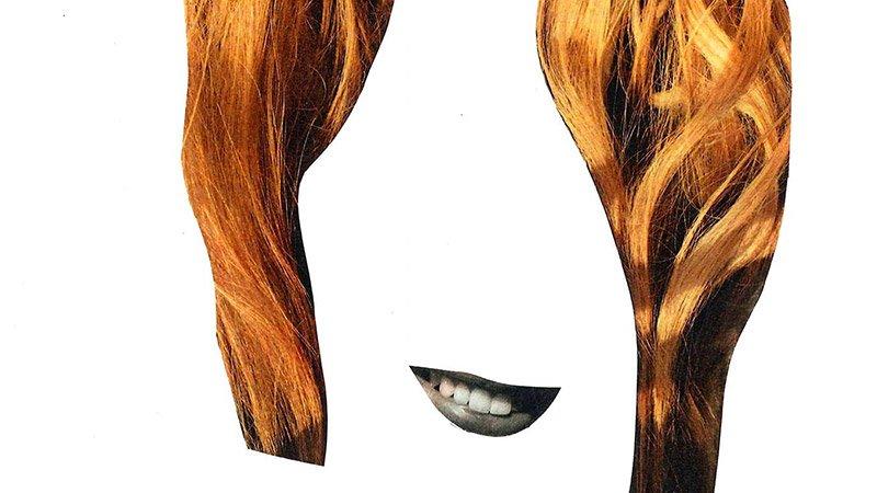 Detalle del cartel de Ferviendo Fest en el que se ve un recorte de una boca y de una melena a modo de collage sobre fondo blanco plana.