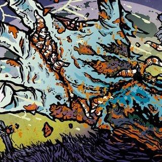 Detalle del cartel del Otero Brutal Fest 2019 en el que se ve una ilustración tipo comic de una mano podrida y resquebrajada con un cementerio y una luna de fondo.