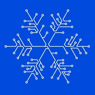 Detalle del cartel del Winter Lab 2019 en el que se ve una forma que representa al frío y a los copos de nieve hecha con lineas de circuitos electrónicos.