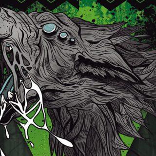 Detalle del cartel del Wolfest 2019 en el que se ve una cabeza de lobo ilustrada de perfil, dejando ver que tiene 3 ojos y la boca abierta de forma amenazante con muchas babas colgando.