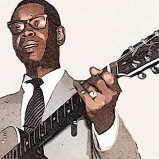 Detalle del cartel del festival Chilly in Your Kitchen donde se ve una foto de Elmore James tocando la guitarra.