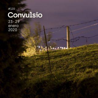 Contraportada de Convulsio con foto de un prao de Fitoria, al lado de Oviedo, en la que se ven, en una escena nocturna, varios postes eléctricos y una vaya de espinos junto a un arbusto.