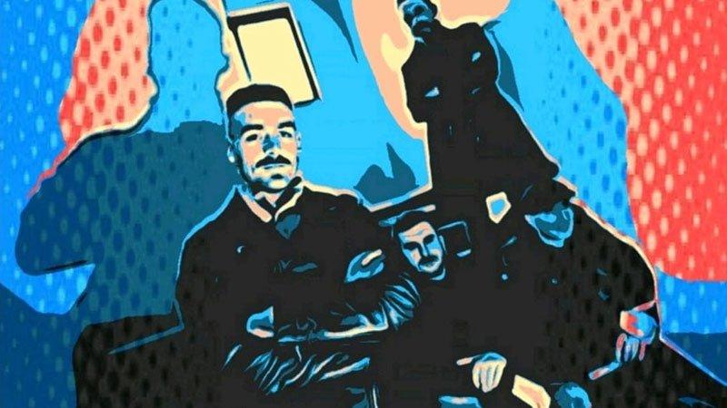 Detalle del cartel del concierto en el que se ve a los miembros de Greystones con un efecto de ilustración, gran contraste y saturación de color.