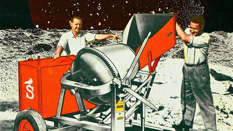 Detalle del cartel de Conciertos Salvajes Vol. 4 en el que se ve a dos trabajadores de la construcción rellenando una hormigonera con el logo de La Salvaje con un paisaje lunar de fondo.