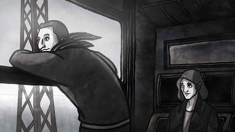 """Fotograma del documental de animación """"Cris el suizo"""" en el que se ve a sus dos protagonistas en un vagón de tren."""